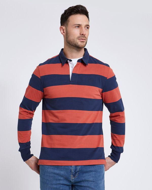 Paul Costelloe Living Navy Rust Stripe Rugby Shirt