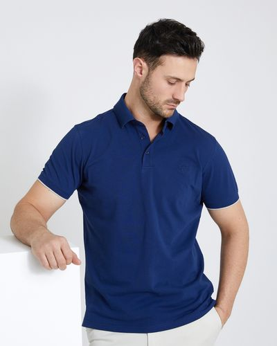 Paul Costelloe Living Navy Slim Stretch Pique Polo