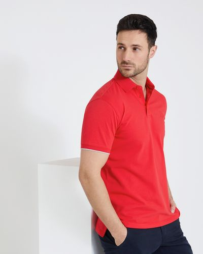 Paul Costelloe Living Red Slim Stretch Pique Polo