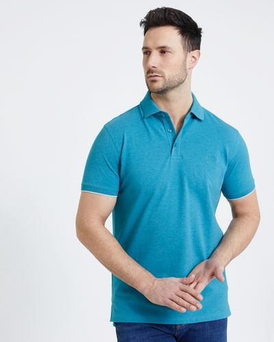 Paul Costelloe Living Teal Stretch Pique Polo