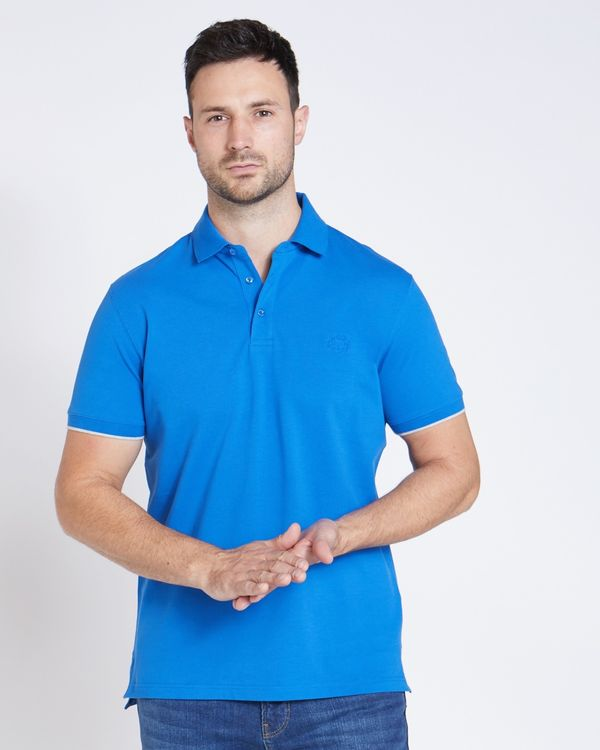 Paul Costelloe Living Blue Stretch Pique Polo