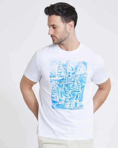 Paul Costelloe Living White Printed Slub T-Shirt