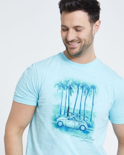 Paul Costelloe Living Turquoise Printed Slub T-Shirt