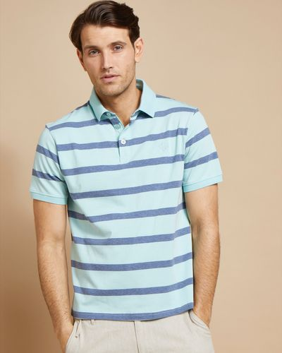 Paul Costelloe Living Turquoise Melange Stripe Polo