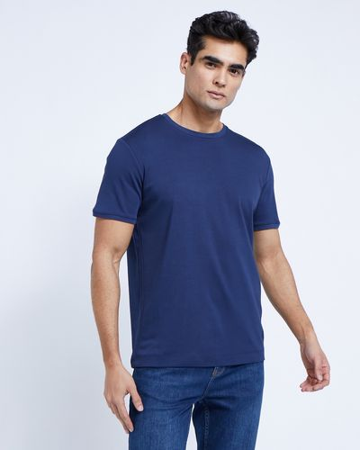 Paul Costelloe Living Navy Mercerised T-Shirt
