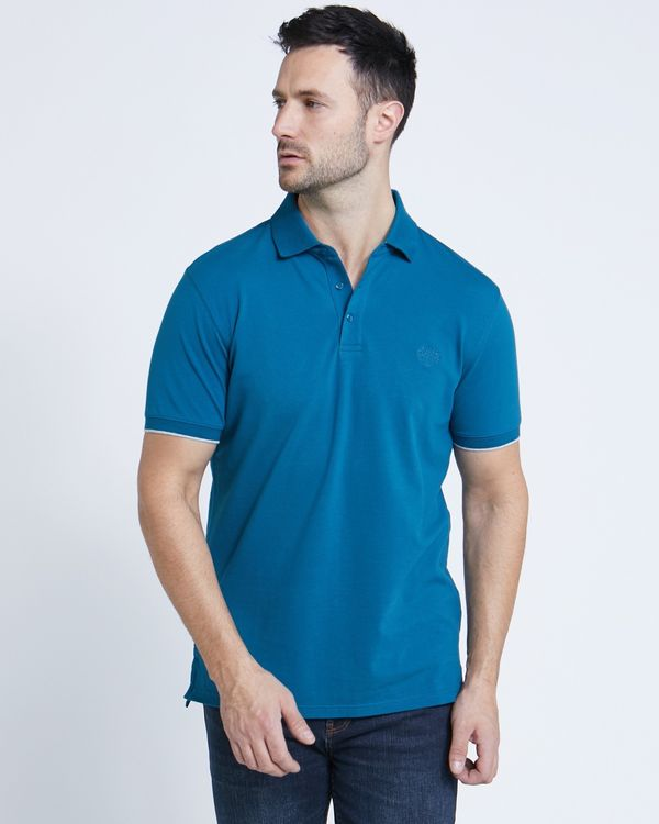Paul Costelloe Living Teal Stretch Polo