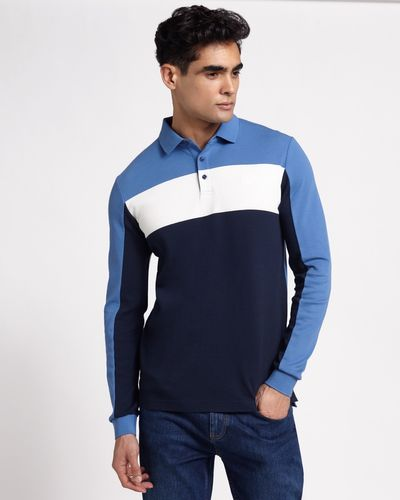 Paul Costelloe Living Navy Slim Fit Long Sleeve Pique Polo