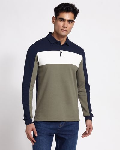 Paul Costelloe Living Green Slim Fit Long Sleeve Pique Polo
