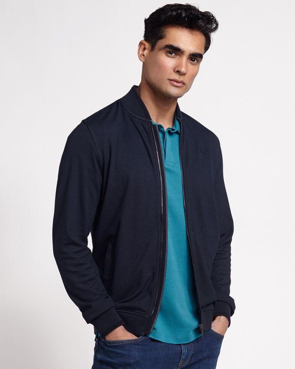 Paul Costelloe Living Mandarin Collar Navy Zip Through Cardigan