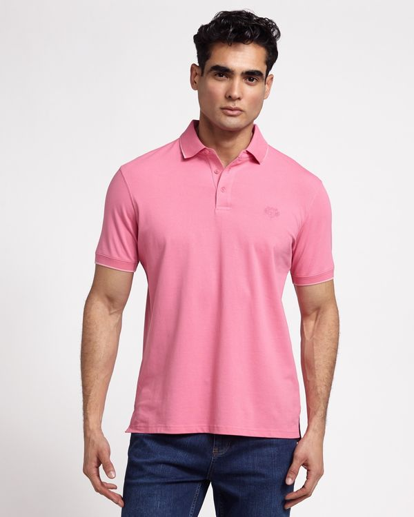 Paul Costelloe Living Pink Stretch Pique Polo