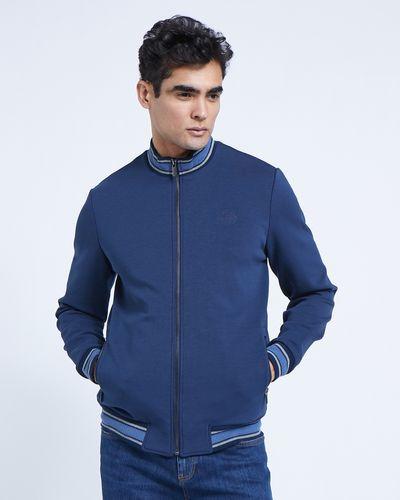 Paul Costelloe Living Funnel Neck Navy Zip-Through Jacket