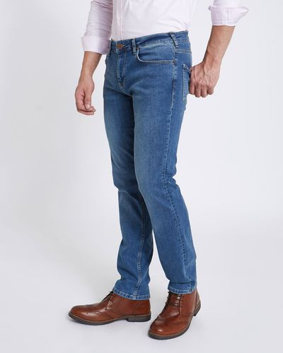 Paul Costelloe Living Mid Wash Denim Straight Fit Jeans
