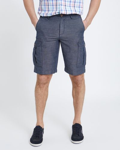 Paul Costelloe Living Navy Linen Cargo Shorts
