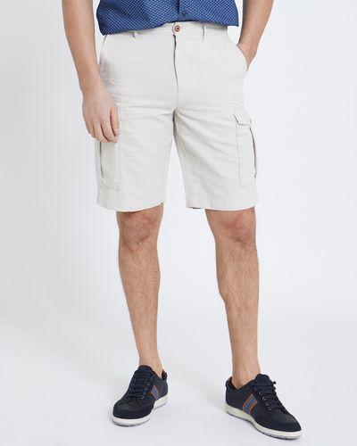 Paul Costelloe Living Stone Linen Cargo Shorts