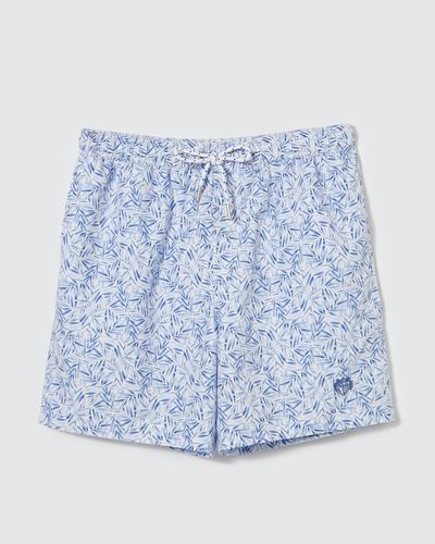 Paul Costelloe Living Blue Leaf Print Swim Short