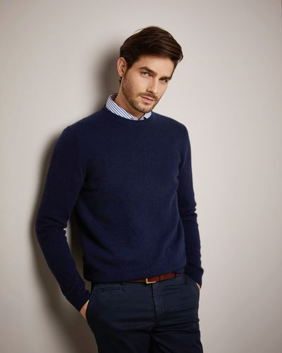 Paul Costelloe Living Navy Cashmere Crew Neck Jumper