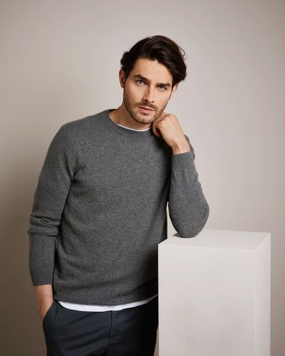 Paul Costelloe Living Grey Cashmere Crew Neck Jumper