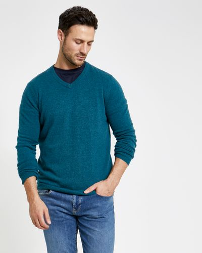Paul Costelloe Living Teal Cashmere V-Neck Jumper