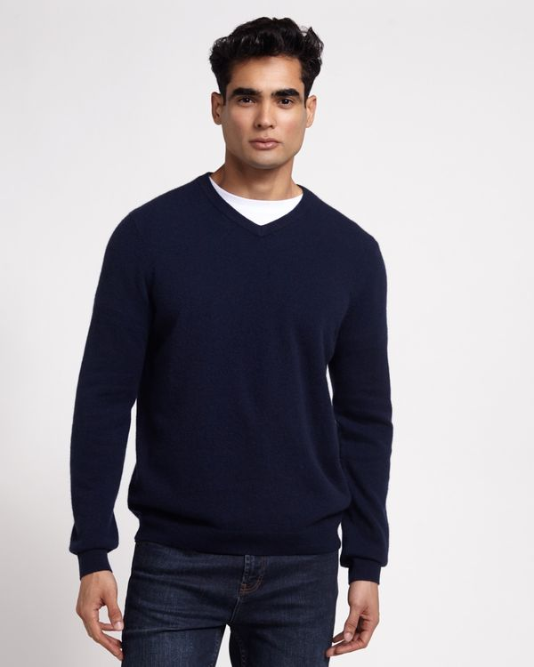 Paul Costelloe Living Navy Cashmere V-Neck Jumper