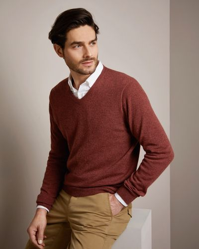 Paul Costelloe Living Rust Cashmere V-Neck Jumper