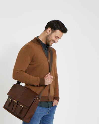 Paul Costelloe Living Brown Leather Messenger Bag