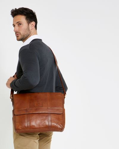 Paul Costelloe Living Tan Leather Messenger Bag