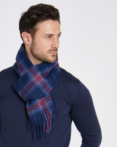 Paul Costelloe Living Red Wool Check Scarf