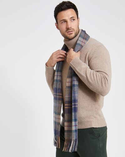 Paul Costelloe Living Teal Wool Check Scarf