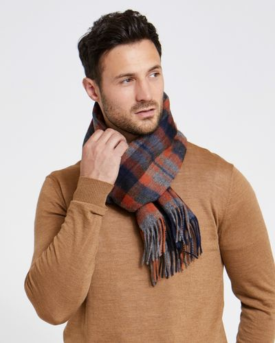 Paul Costelloe Living Orange Wool Check Scarf