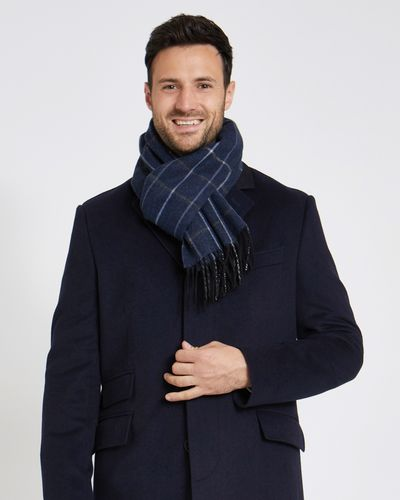 Paul Costelloe Living Navy Wool Check Scarf