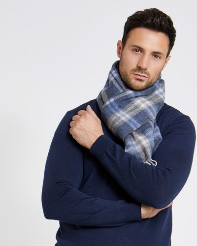 Paul Costelloe Living Denim Wool Check Scarf