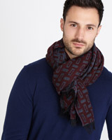 burgundy Paul Costelloe Living Block Design Scarf