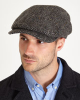 grey Paul Costelloe Living Donegal Tweed Flat Cap