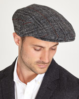 grey Paul Costelloe Living Harris Tweed Flat Cap