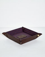 brown Paul Costelloe Living Leather Coin Tray