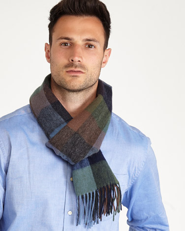 green Paul Costelloe Living Wool Check Scarf