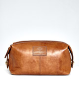 tan Paul Costelloe Living Leather Wash Bag