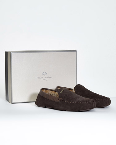 brown Paul Costelloe Living Suede Mocassin Slippers